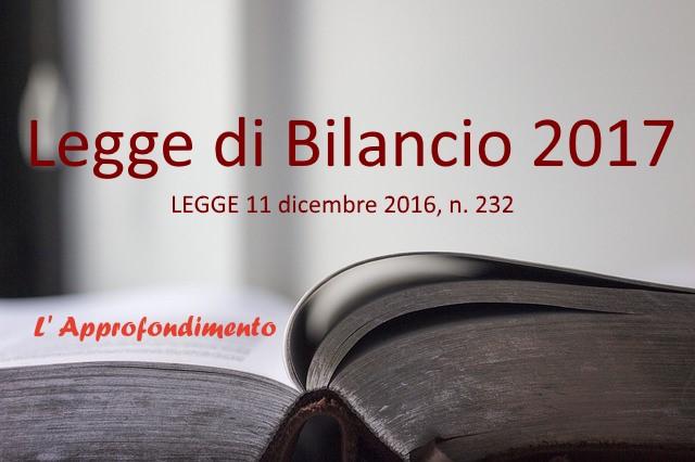 Legge di Bilancio 2017: Le Principali Novità